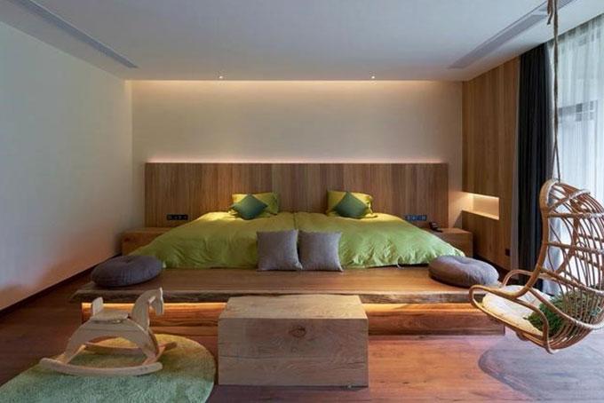 mẫu thiết kế nội thất resort sử dụng màu sắc cá tính đối lập