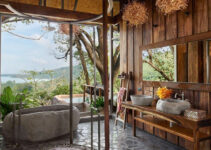 mẫu thiết kế nội thất sử dụng kết hợp gỗ và đá