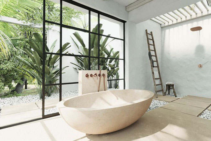 mẫu thiết kế phòng tắm của resort