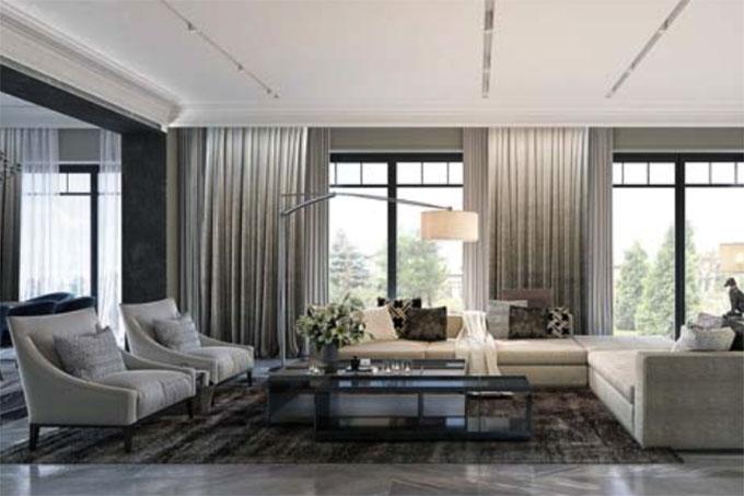mẫu thiết kế thi công nội thất phòng khách đẹp