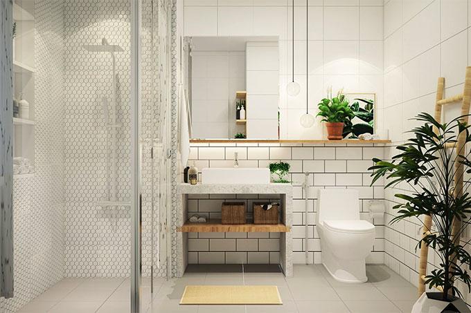 nhà vệ sinh nhỏ gọn nhờ các bố trí nội thất hợp lý