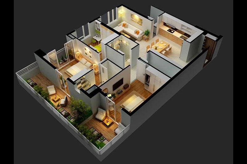thiết kế nội thất hình ảnh 3d tổng thể