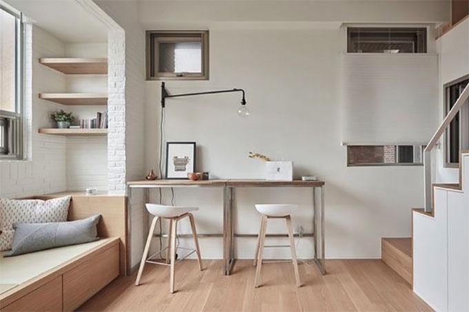 thiết kế nội thất phối hợp màu sắc đơn giản nhưng tinh tế