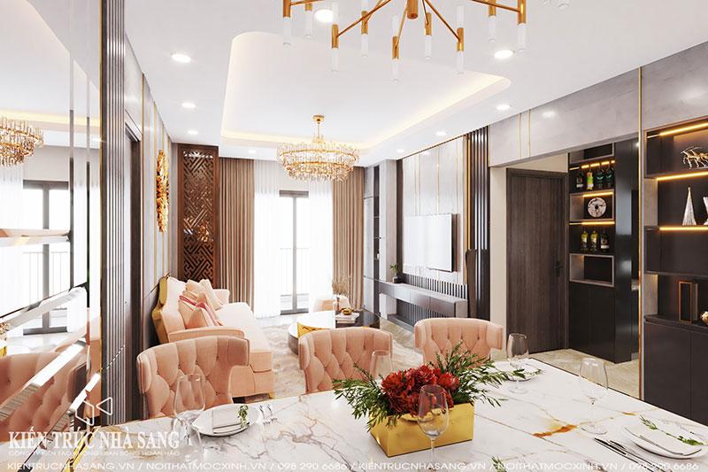 thiết kế nội thất phòng khách luxury
