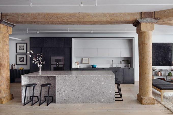 thiết kế nội thất resort kết hợp gỗ và đá