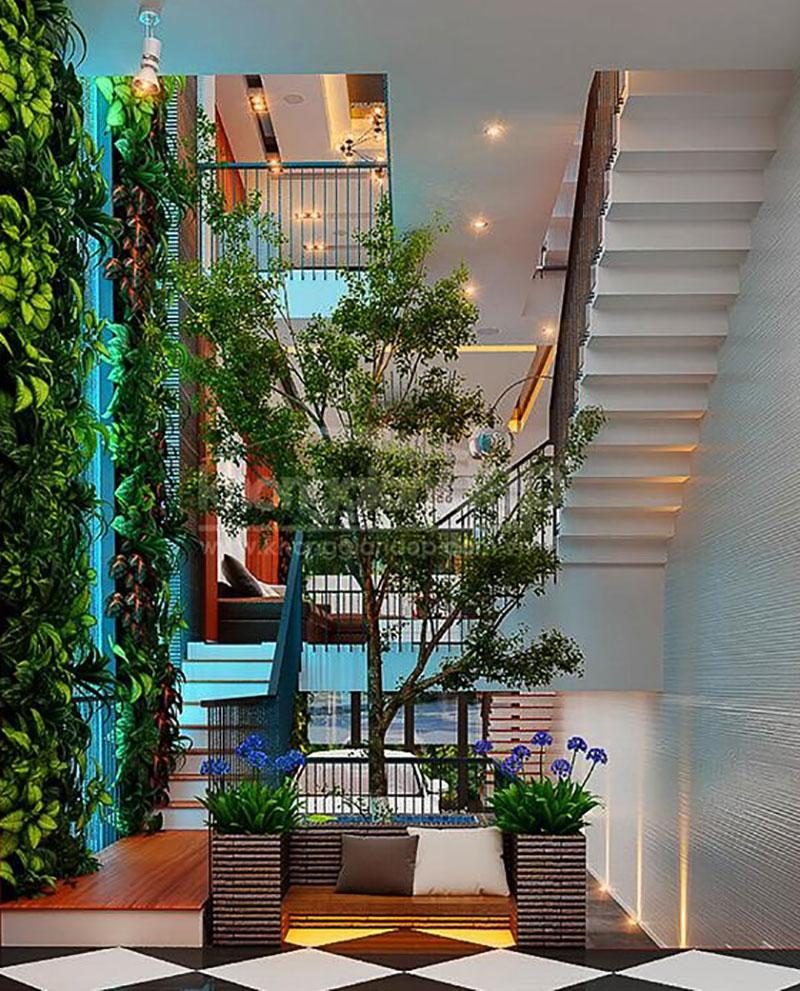mẫu thiết kế nội thất nhà ống ấn tượng với hệ thực vật sống động trong nhà