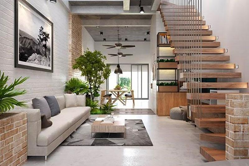 mẫu thiết kế nội thất nhà ống với cầu thang gỗ