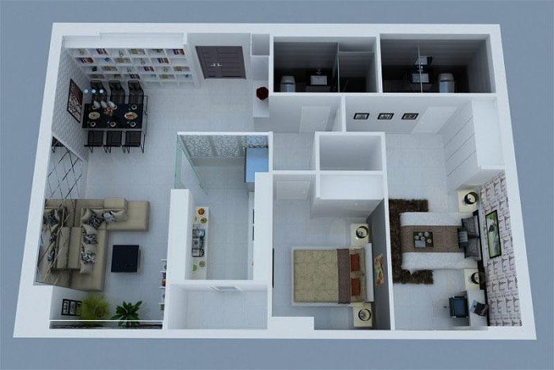 thiết kế nội thất 3d tổng thể của toàn bộ không gian