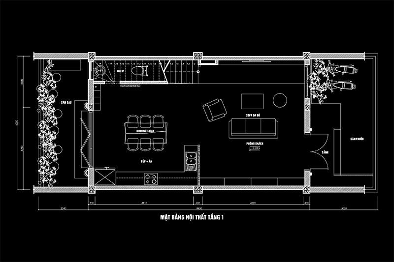 mặt bằng nội thất tầng 1 nhà 6x10m
