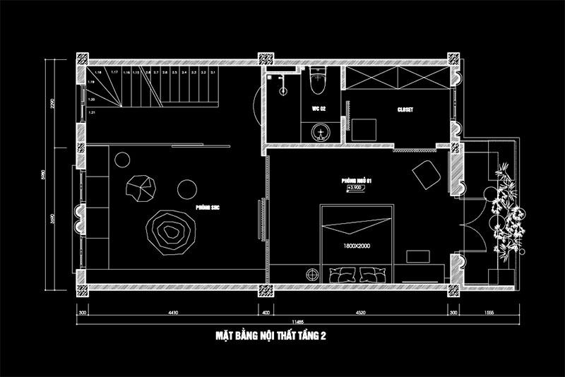 mặt bằng tầng 2 bố trí nội thất nhà 6x10m 3 tầng
