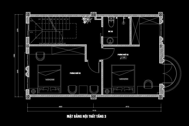 mặt bằng tầng 3 bố trí nội thất nhà 6x10m 3 tầng