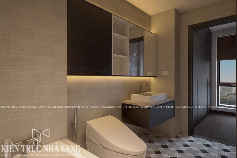 mẫu nhà vệ sinh hiện đại nhà phố 2 tầng mái thái