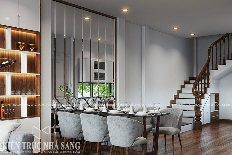 mẫu nội thất phòng ăn nhà phố 3 tầng 1 tum