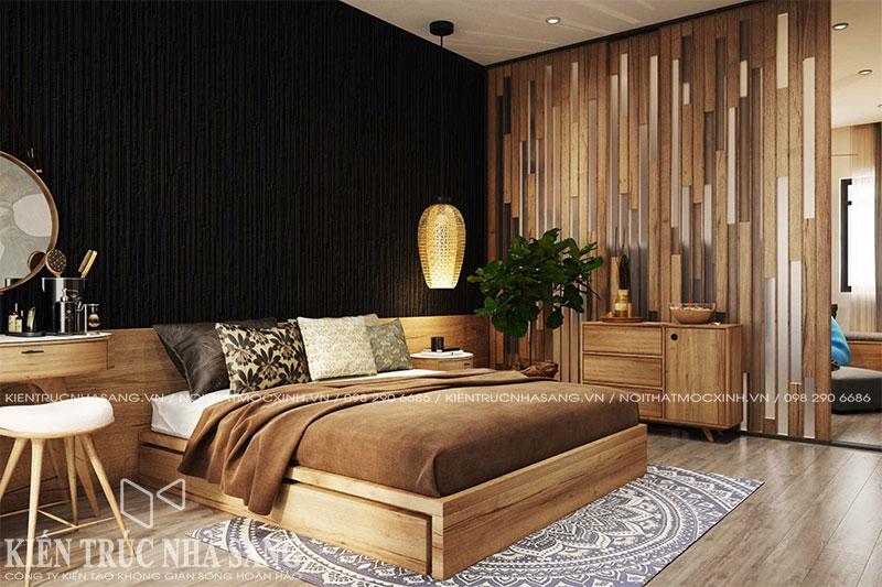 mẫu nội thất phòng ngủ gỗ tự nhiên nhà 6x10m