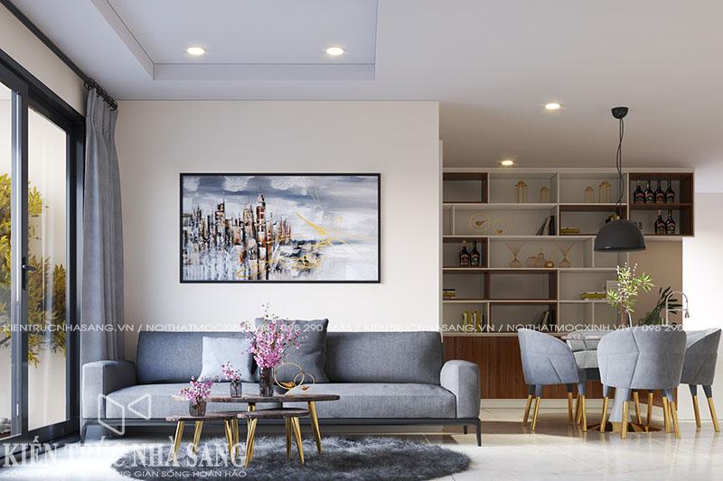mẫu thi công thiết kế nội thất nhà 80m2 chung cư kosmo