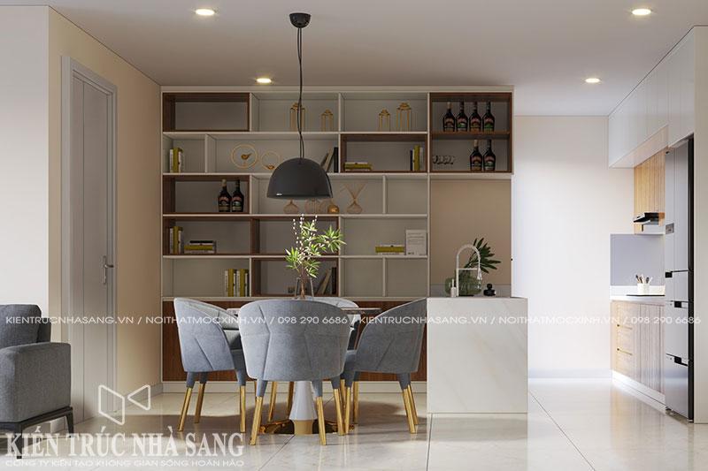 mẫu thiết kế nhà 80m2 2 phòng ngủ chung cư kosmo