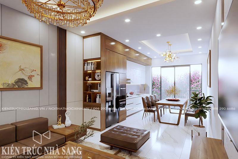 mẫu thiết kế nội thất bếp ăn nhà 1 tầng hiện đại