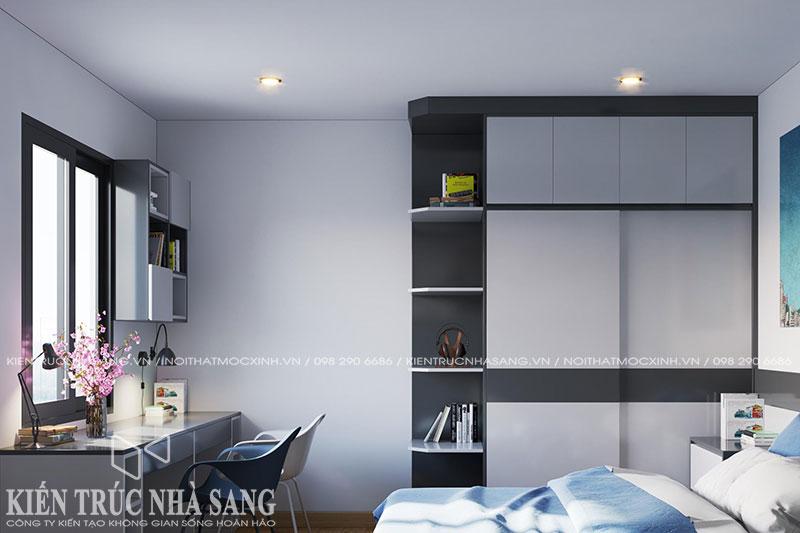 mẫu thiết kế nội thất không gian học trong phòng ngủ nhà phố