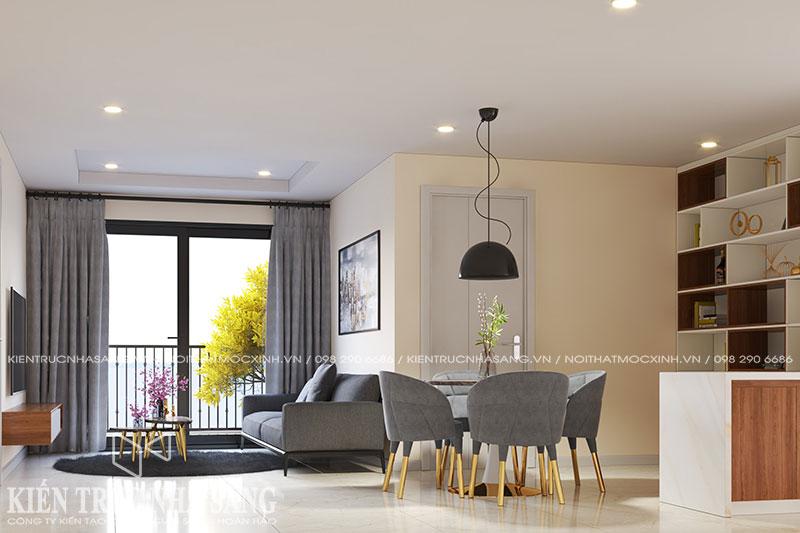 mẫu thiết kế nội thất nhà 80m2 chung cư kosmo