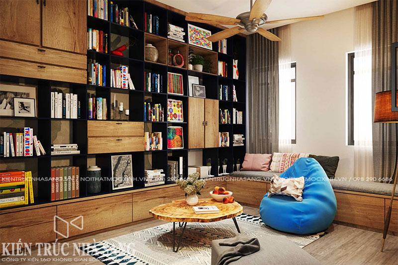 mẫu thiết kế nội thất phòng thư viện nhà 6x10m