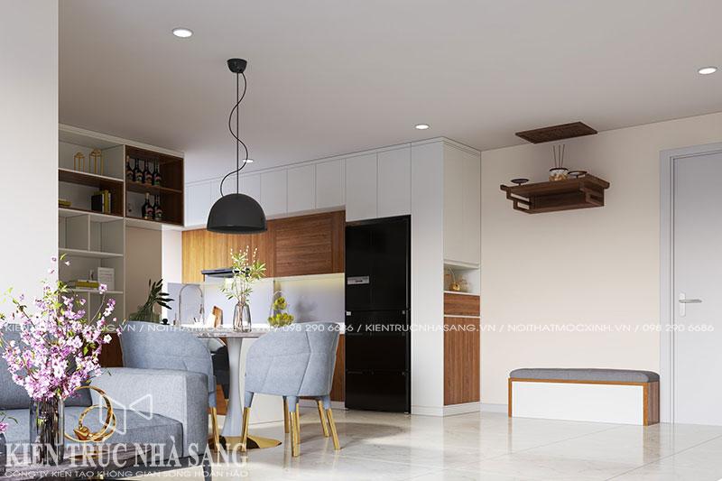 mẫu thiết kế nội thất tủ bếp hiện đại gỗ công nghiệp