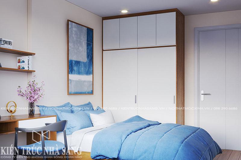 mẫu thiết kế phòng ngủ đơn giản chung cư kosmo