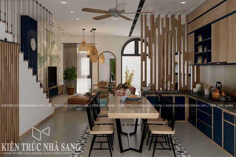 thi công nội thất phòng ăn gỗ tự nhiên nhà 6x10m