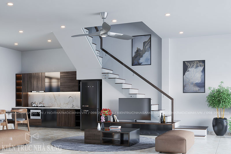 thiết kế nội thất bếp nhà phố 4 tầng thoáng mát
