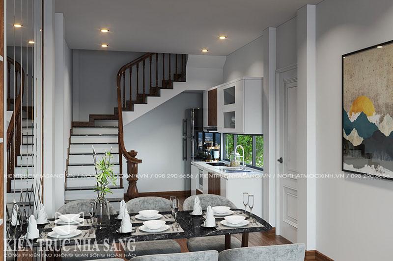 thiết kế nội thất bếp nhà phố trật 3 tầng 1 tum