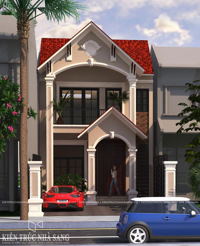 thiết kế nội thất cho nhà 2 tầng mái thái đẹp