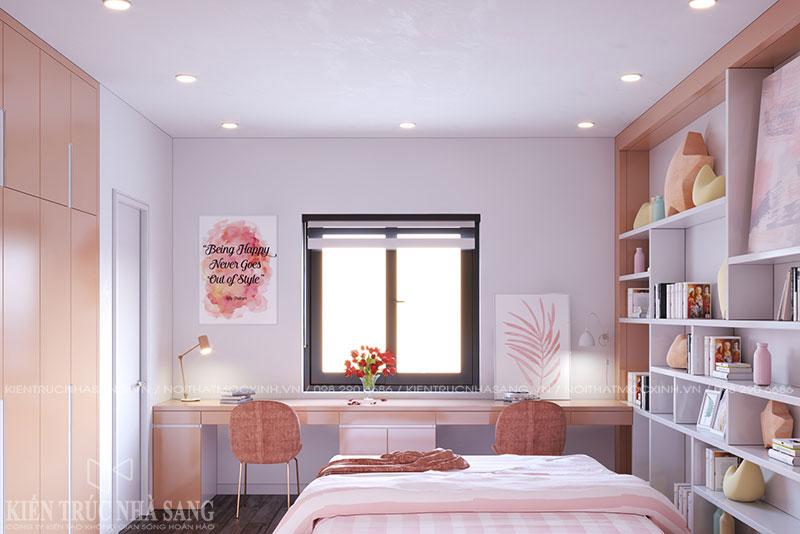 thiết kế nội thất phòng ngủ con gái nhà 4 tầng