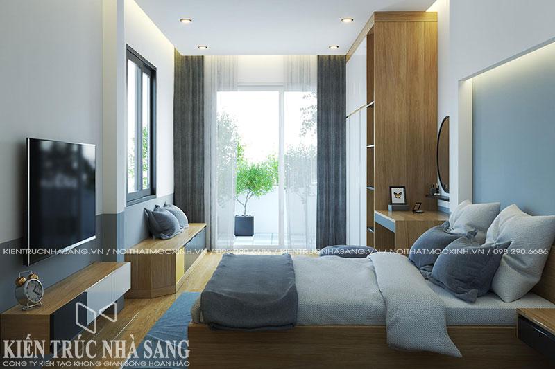 thiết kế nội thất phòng ngủ hẹp nhà phố 3 tầng 1 tum