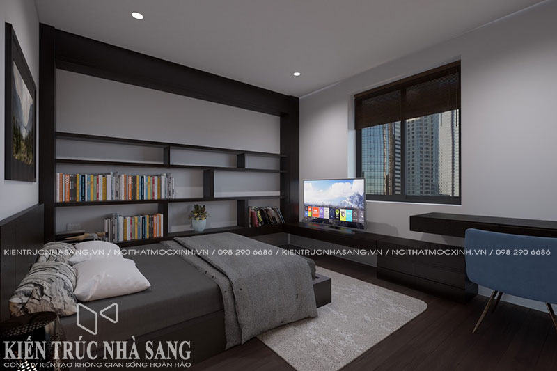 thiết kế nội thất phòng ngủ hiện đại nhà 2 tầng mái thái