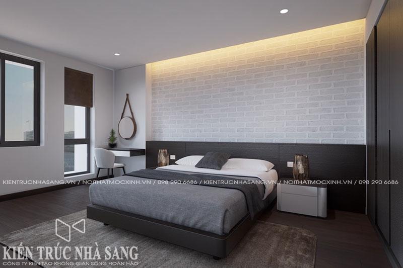 thiết kế nội thất phòng ngủ 2 tầng mái thái