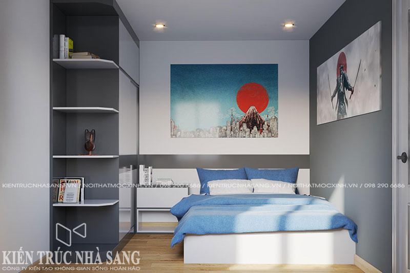 thiết kế nội thất phòng ngủ nhà 3 tầng 1 tum hiện đại