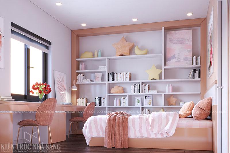 thiết kế thi công nội thất phòng ngủ con gái nhà 4 tầng