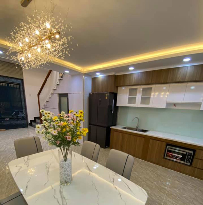 mẫu nội thất phòng ăn nhà 4.5x9m