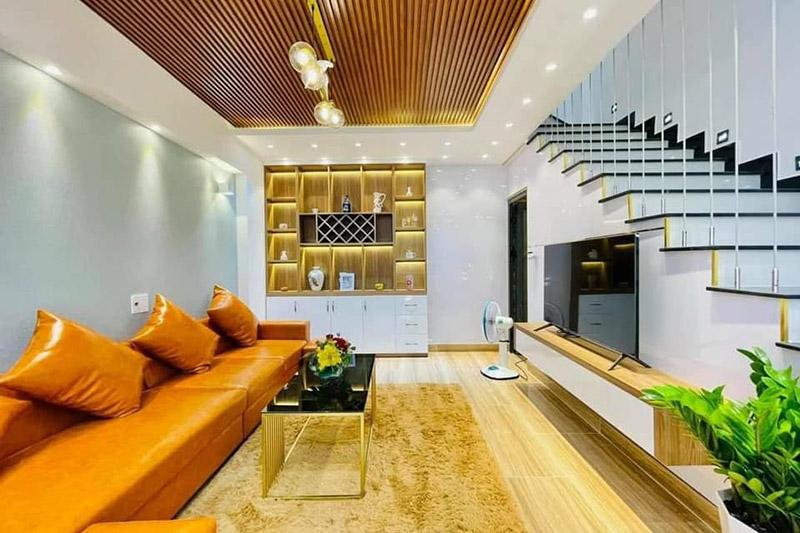 mẫu nội thất phòng khách tại tầng lửng nhà 4.5x9m