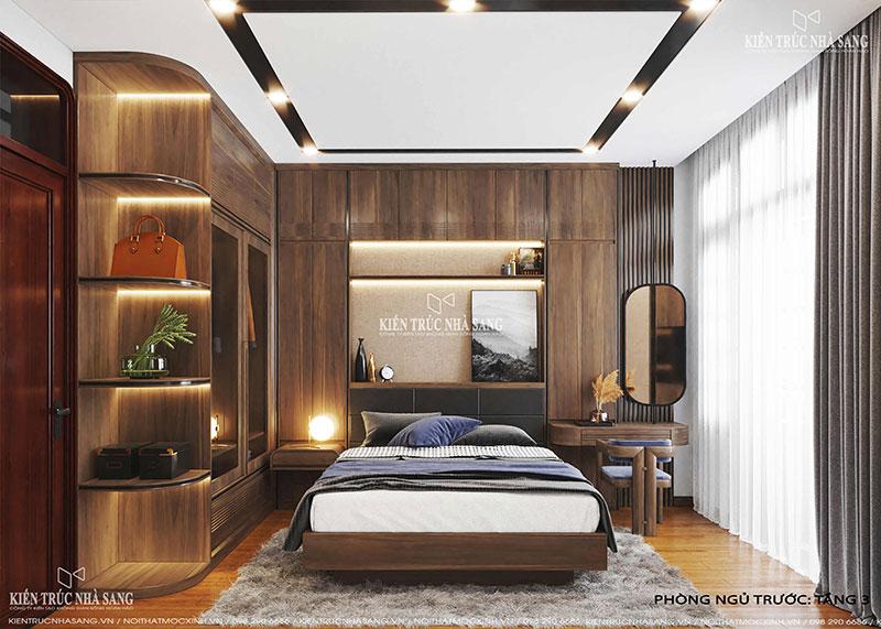 mẫu nội thất phòng ngủ gỗ óc chó nhà 40m2