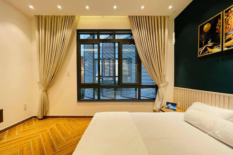 mẫu nội thất phòng ngủ hiện đại nhà 3 tầng 4.5x9m