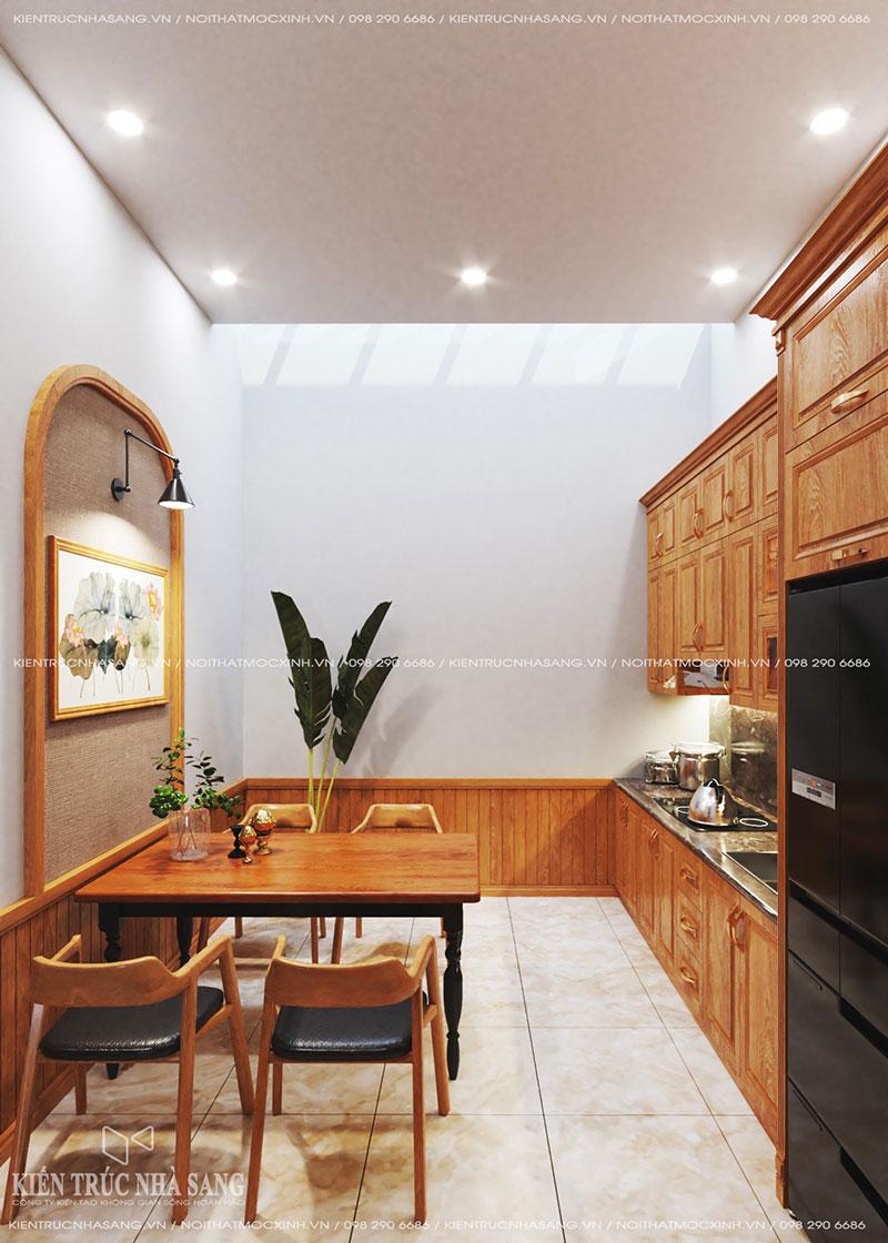 mẫu thiết kế bếp nhà phố thông thoáng
