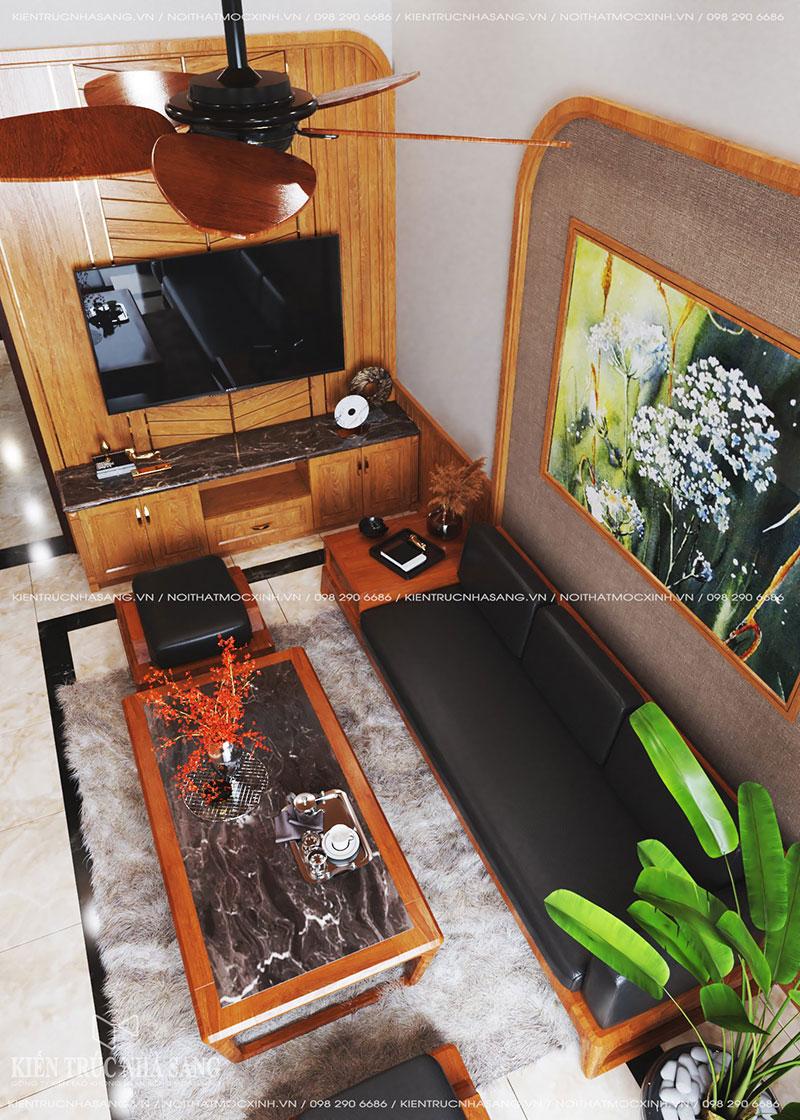 nội thất phòng khách gỗ tự nhiên nhà 40m2