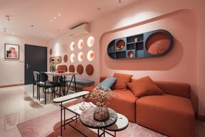 thiết kế nội thất căn hộ gam màu hồng