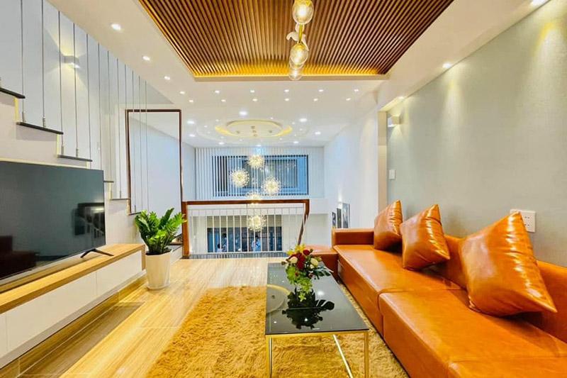 thiết kế nội thất nhà 3 tầng có gác xép 4.5x9m