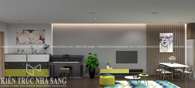 thiết kế nội thất nhà chung cư 60m2 hiện đại