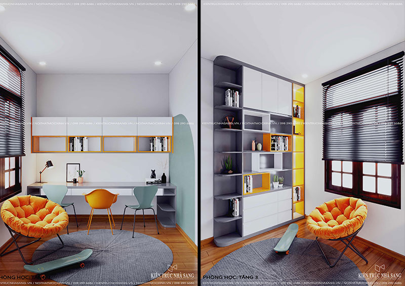 thiết kế nội thất phòng học nhà 40m2