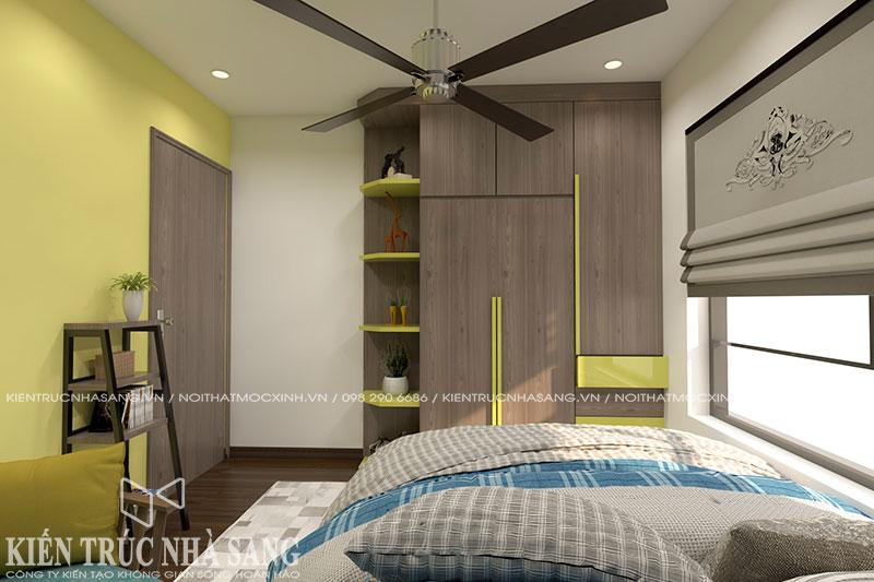thiết kế nội thất phòng ngủ cá tính nhà 60m2