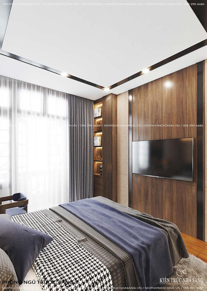 thiết kế nội thất phòng ngủ gỗ tự nhiên óc chó nhà phố