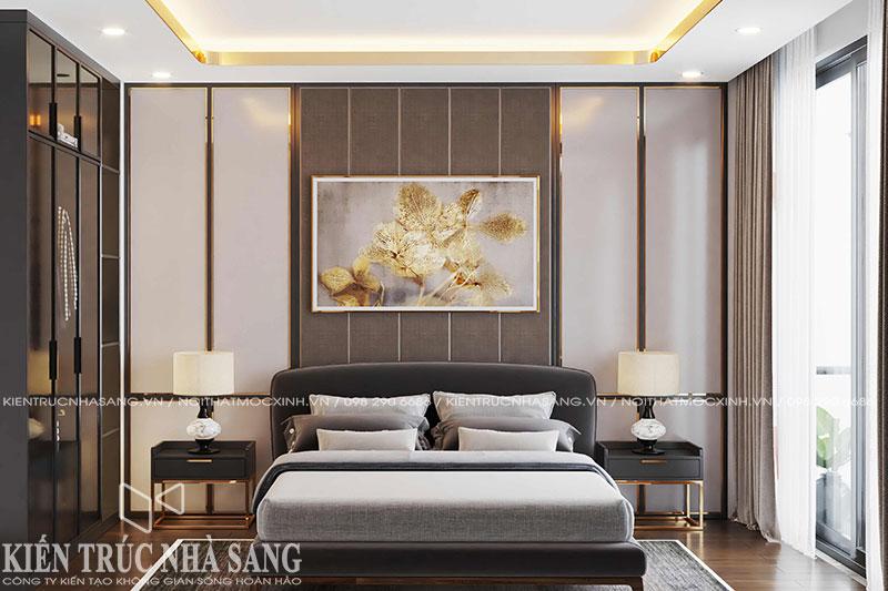 thiết kế nội thất phòng ngủ luxury hiện đại nhà 50m2