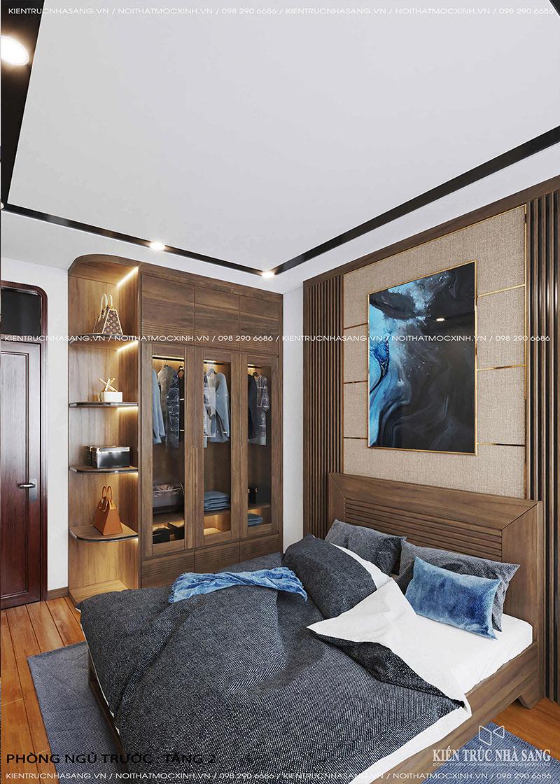 thiết kế thi công nội thất gỗ tự nhiên óc chó nhà 40m2